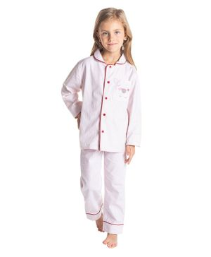 Cherry Crumble California Full Sleeves Striped Night Suit - Pink
