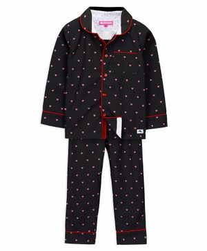 Cherry Crumble California Full Sleeves All Over Heart Print Night Suit - Black