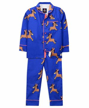 Cherry Crumble California Full Sleeves Donkey Print Night Suit - Blue