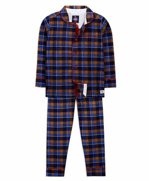Cherry Crumble California Full Sleeves Checked Night Suit - Multi Colour