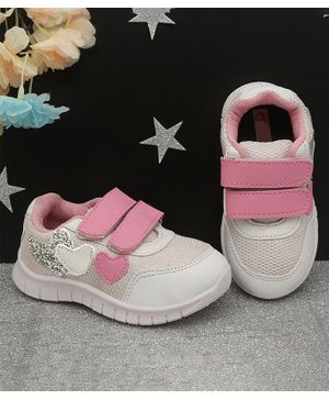 D'chica Heart Patch Velcro Closure Sneakers - White & Pink