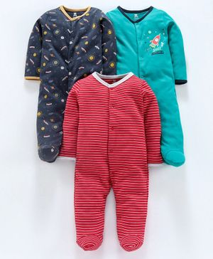 I Bears Full Sleeves Footed Romper Pack of 3 - Red Navy Blue Green