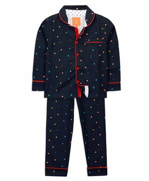 Cherry Crumble California Full Sleeves Geometric Prints Night Suit - Navy Blue