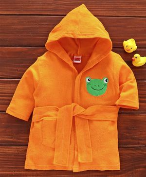 Babyhug Three Fourth Sleeves Bathrobe Froggy Patch - Orange