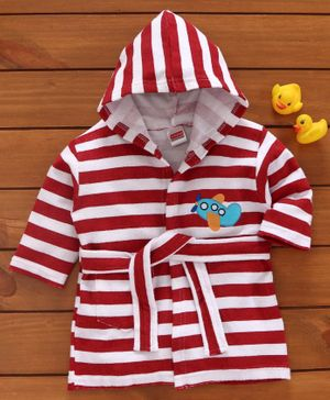 Babyhug Three Fourth Sleeves Striped Hooded Bathrobe - Red White
