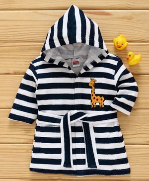 Babyhug Full Sleeves Striped Hooded Bathrobe - Navy Blue White