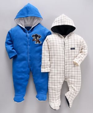 whaou Checked & Dog Patch Full Sleeves Pack Of 2 Footie Romper - Blue & White