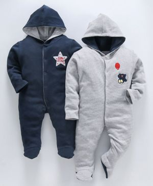 whaou Teddy With Balloon Patch Full Sleeves Pack Of 2 Footie Romper - Blue & Grey