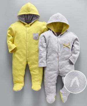 whaou Printed Full Sleeves Pack Of 2 Footie Rompers - Yellow & Grey