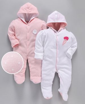 whaou Polka Dot Print Full Sleeves Pack Of 2 Footie Rompers - Pink & White