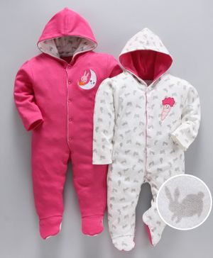 whaou Bunny Print Full Sleeves Pack Of 2 Footie Rompers - Pink & White