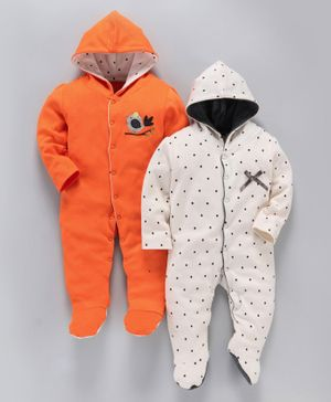 whaou Bird Patch & Polka Dot Print Full Sleeves Pack Of 2 Footed Rompers - Orange & Grey