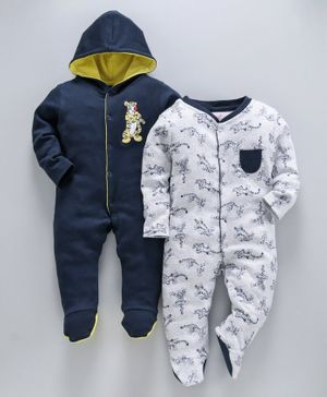 whaou Tiger Print Full Sleeves Pack Of 2 Rompers - Grey & Navy Blue