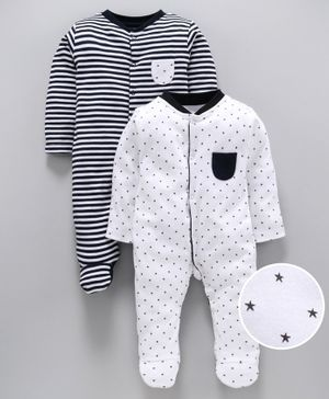 whaou Star Print & Striped Full Sleeves Pack Of 2 Footie Rompers - White & Navy Blue
