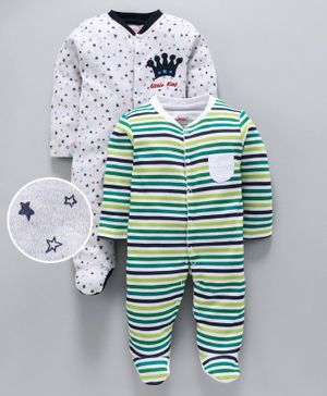 whaou Star Print & Striped Full Sleeves Pack Of 2 Footed Rompers - Multi Color