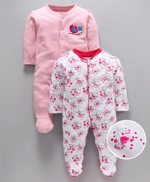 whaou Bird Patch & Flower Print Full Sleeves Pack of 2 Footed Rompers - Pink & White