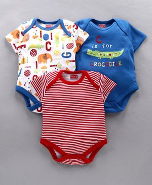 Babyhug Half Sleeves 100% Cotton Onesies Multi Print Pack of 3 - White Blue Red