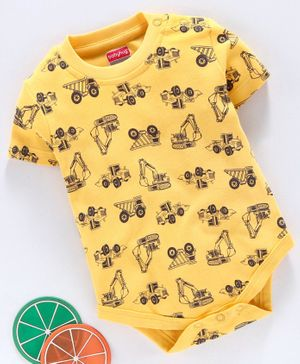 Babyhug 100% Cotton Half Sleeves Onesie Vehicle Print - Yellow