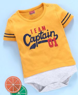 Babyhug 100% Cotton Half Sleeves Onesie Captain Print - Mustard Yellow