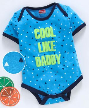 Babyhug 100% Cotton Half Sleeves Onesie Cool Print - Blue