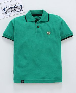 Earth Conscious Solid Half Sleeves Polo T-Shirt - Green