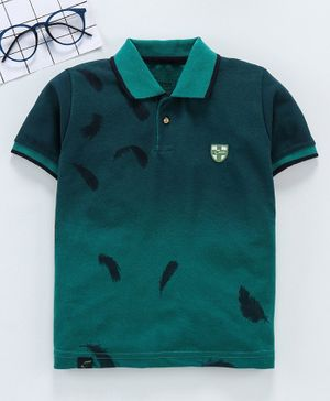 Earth Conscious Feather Print Half Sleeves Polo T-Shirt - Green