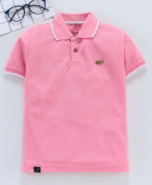 Earth Conscious Solid Half Sleeves Polo T-Shirt - Pink