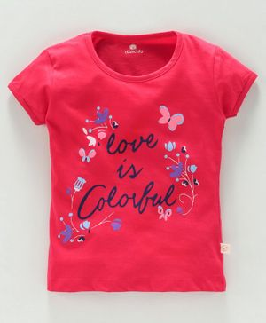 Olio Kids Half Sleeves Tee Text Print - Red