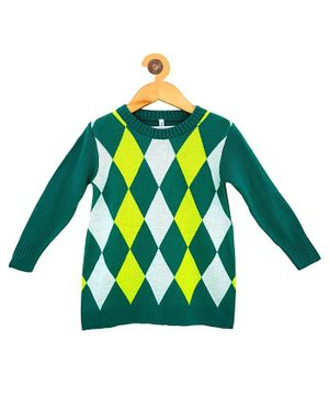 Campana Full Sleeves Diamond Pattern Sweater - Green