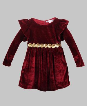My Pink Closet Full Sleeves Golden Sequin Embellished Belt Detailed Velvet  Dress - Maroon