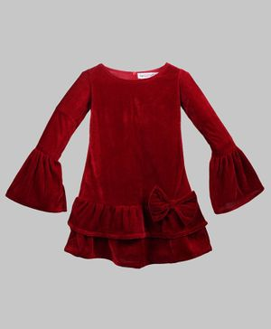 My Pink Closet Full Sleeves Solid Bow Detailed Frill Velvet Dress - Red