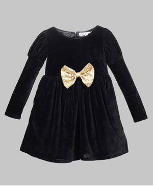 My Pink Closet Full Sleeves Sequin Embellished Big Bow Detailed Velvet  Dress - Black