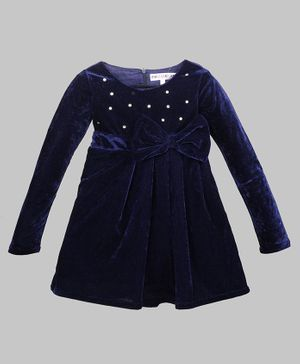 My Pink Closet Full Sleeves Crystal Embellished Bow Detailed Velvet  Dress - Navy Blue