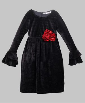 My Pink Closet Ruffled Full Sleeves Flower Applique Velvet Dress - Black