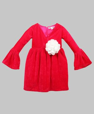 My Pink Closet Ruffled Full Sleeves Big Flower Applique Velvet Dress - Red