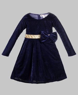 My Pink Closet Full Sleeves Big Bow Applique Velvet Dress - Navy Blue