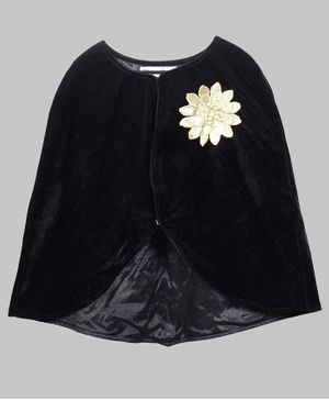 My Pink Closet Full Sleeves Flower Detailed Velvet Poncho - Black