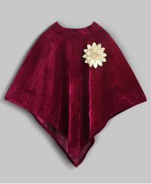My Pink Closet Full Sleeves Flower Detailed Velvet Poncho - Maroon