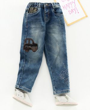 Babyhug Full Length Pull Up Denim Jeans Car Patch - Navy