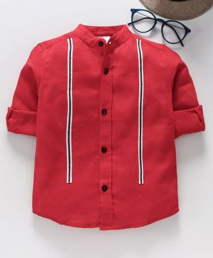 TONYBOY Full Sleeves Front Taped Shirt - Red