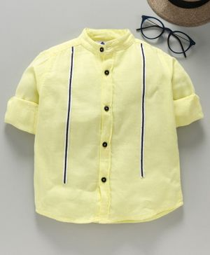 TONYBOY Full Sleeves Front Taped Shirt - Light Yellow