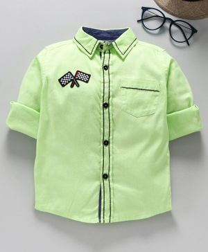 TONTBOY Full Sleeves Flag Patch Shirt - Light Green