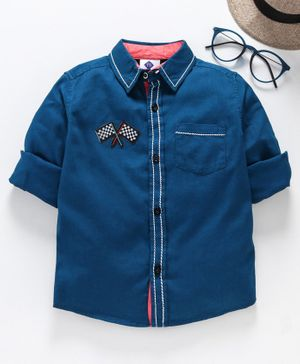 TONTBOY Full Sleeves Flag Patch Shirt - Dark Blue