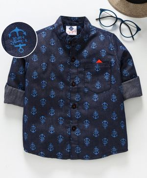TONYBOY Full Sleeves Anchor Print Shirt - Blue