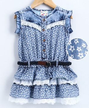 Eimoie Sleeveless Star Print Schiffli Lace Detailed Dress With Belt - Light Blue