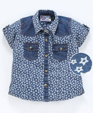 Eimoie Short Sleeves Star Print Shirt Style Top - Dark Blue