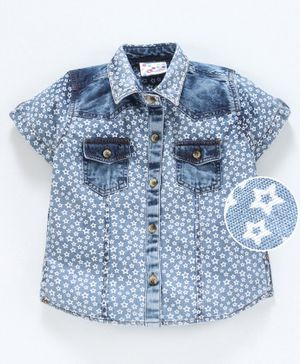 Eimoie Short Sleeves Star Print Shirt Style Top - Light Blue