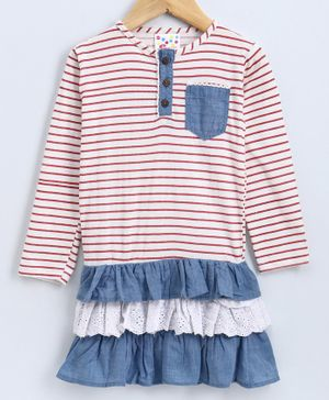 Eimoie Full Sleeves Striped Dress - White