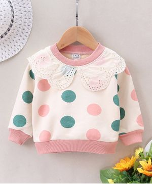 Pre Order - Awabox Lace Detailed On Neckline Dots Printed Full Sleeves Sweatshirt - Light Pink