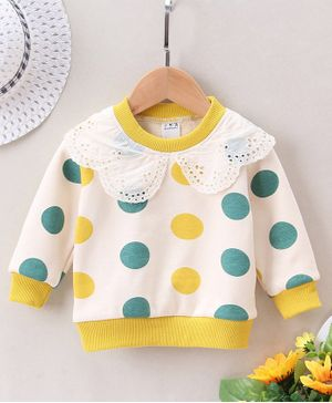 Pre Order - Awabox Lace Detailed On Neckline Dots Printed Full Sleeves Sweatshirt - Yellow